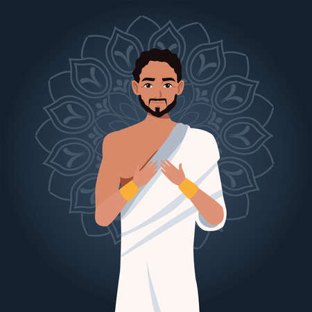 hajj mabrour celebration with islamic pilgrim vector illustration design