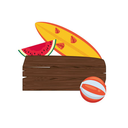 label wooden signal summer icon vector illustration design