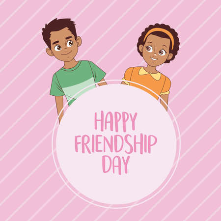 happy friendship day celebration with afro kids couple vector illustration design