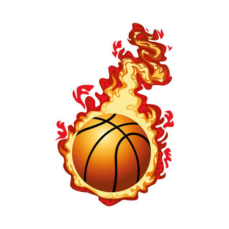 basketball ball sport with fire flame vector illustration design Stock Illustratie