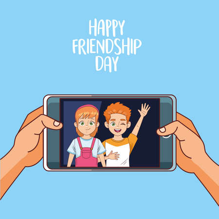 happy friendship day celebration with kids couple in smartphone vector illustration design 写真素材 - 151091480