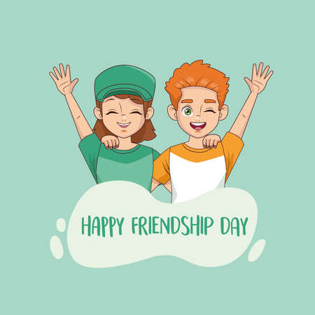 happy friendship day celebration with kids couple vector illustration design 写真素材 - 151087804