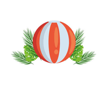 tropical leafs palms summer with beach balloon vector illustration design