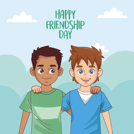happy friendship day celebration with boys couple vector illustration design 写真素材 - 151091496