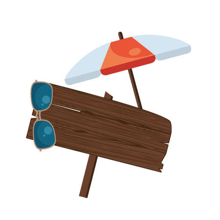 label wooden signal with umbrella and sunglasses vector illustration design