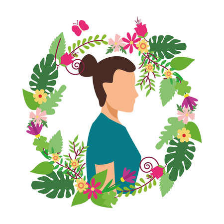 young woman casual in floral wreath avatar character vector illustration design Illustration