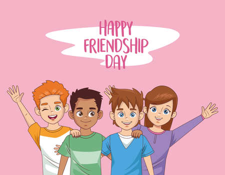 happy friendship day celebration with group of kids vector illustration design