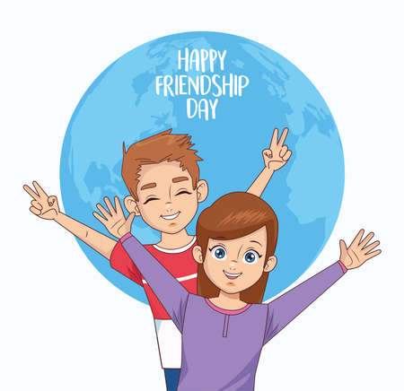 happy friendship day celebration with kids couple vector illustration design 写真素材 - 151091557