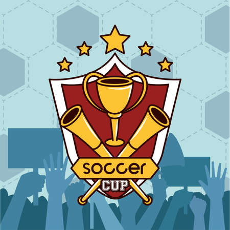 football soccer sport poster with trophy cup award vector illustration design