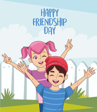 happy friendship day celebration with kids couple vector illustration design 写真素材 - 151091562