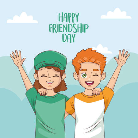 happy friendship day celebration with kids couple vector illustration design 写真素材 - 151091583