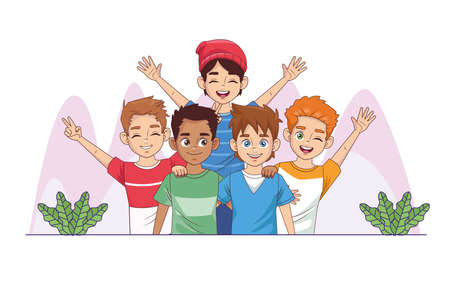 happy friendship day celebration with group of boys in the park vector illustration design 写真素材 - 151091586