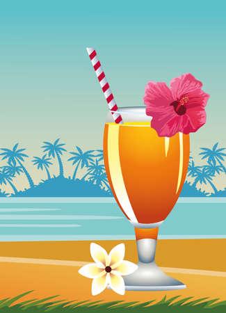 hello summer seasonal scene with tropical cocktail vector illustration design