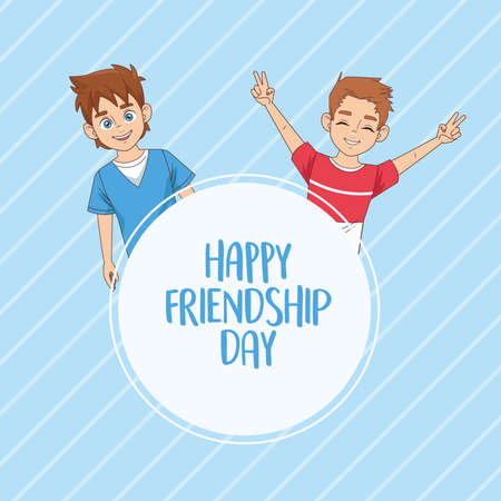 happy friendship day celebration with boys couple vector illustration design 写真素材 - 151091594