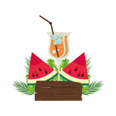 label wooden signal with watermelon and tropical cocktail vector illustration design