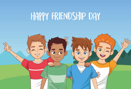happy friendship day celebration with group of boys in the park vector illustration design 写真素材 - 151091599