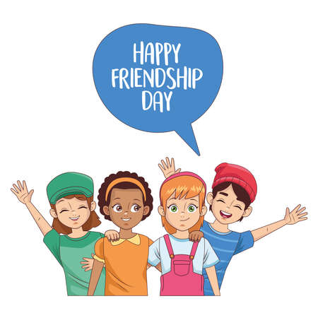 happy friendship day celebration with group of kids vector illustration design 写真素材 - 151091602