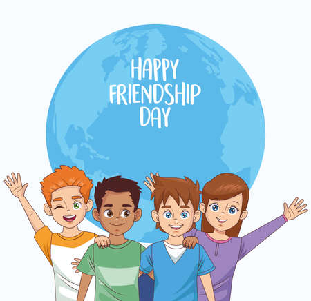 happy friendship day celebration with group of kids vector illustration design 写真素材 - 151091620