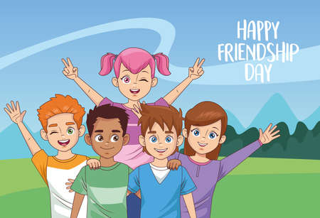 happy friendship day celebration with group of kids in the park vector illustration design 写真素材 - 151091641