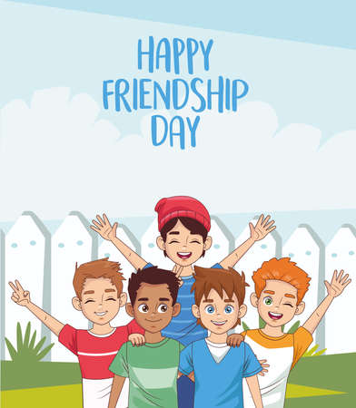 happy friendship day celebration with group of boys in the park vector illustration design