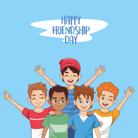happy friendship day celebration with group of boys in the park vector illustration design 写真素材 - 151091667