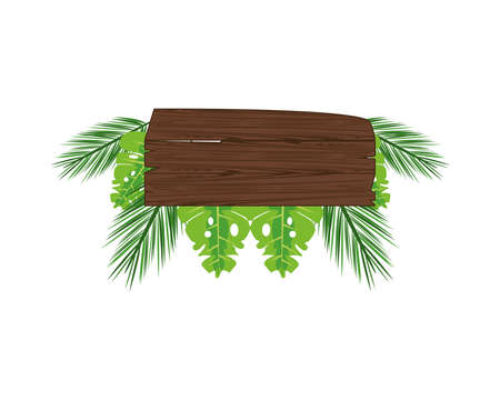 label wooden signal with leafs palm summer icon vector illustration design