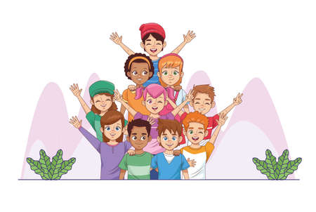 happy friendship day celebration with group of kids in the park vector illustration design 写真素材 - 151091673