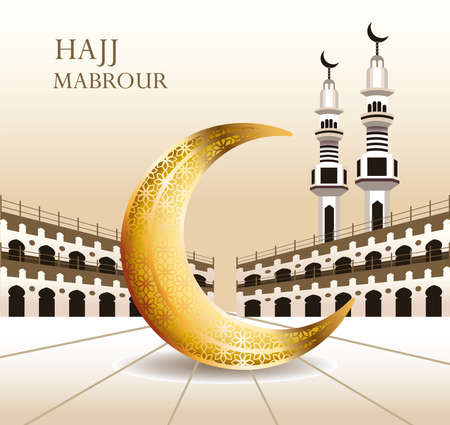 hajj mabrour celebration with golden moon crescent vector illustration design