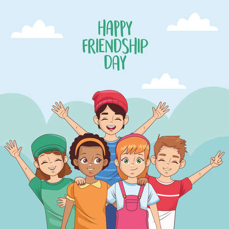 happy friendship day celebration with group of kids in the park vector illustration design 写真素材 - 151091691