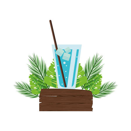 label wooden signal with leafs palm and ice drink vector illustration design