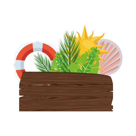 label wooden signal with leafs palm and summer icons vector illustration design