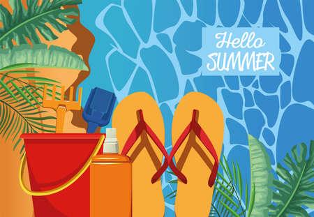 hello summer seasonal scene with flip flops and sandbucket vector illustration design Illustration