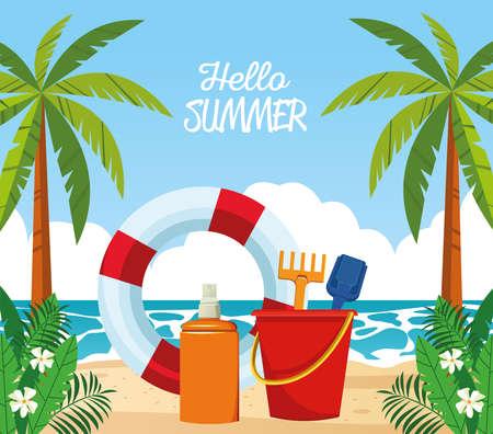 hello summer seasonal scene with lifeguard float and sandbucket vector illustration design