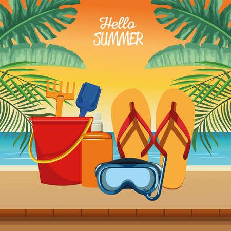 hello summer seasonal scene vector illustration design