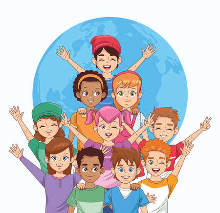 happy friendship day celebration with group of kids vector illustration design 写真素材 - 151092375