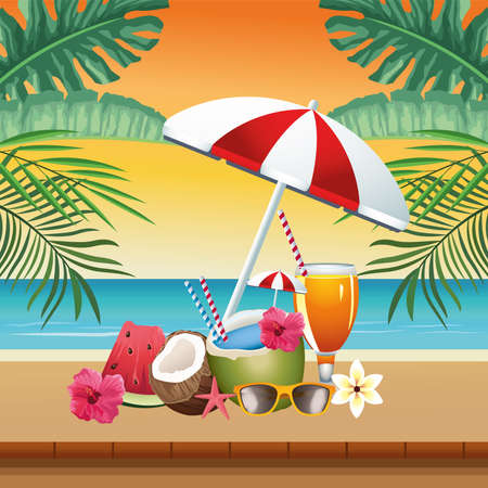 hello summer seasonal scene with umbrella and cocktails vector illustration design