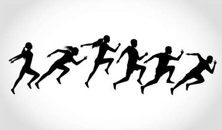silhouettes of athletics people running vector illustration design