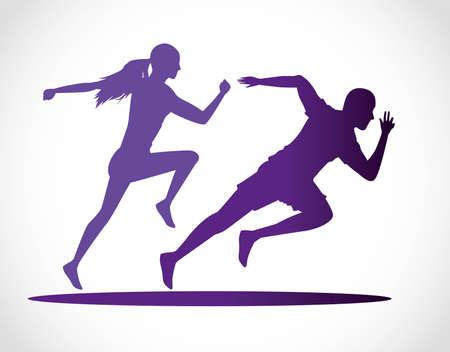 silhouettes of athletics couple running vector illustration design Illustration