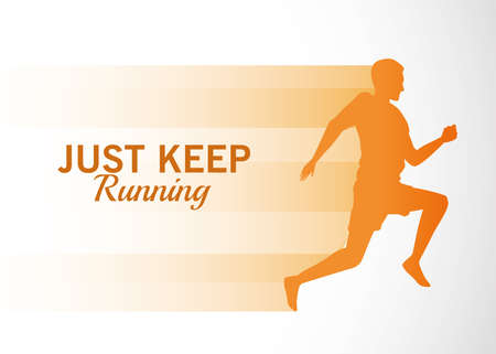 silhouette of athletic man running with just keep message vector illustration design