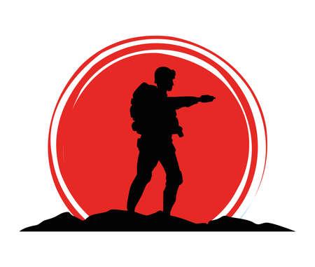 military soldier silhouette figure icon vector illustration design