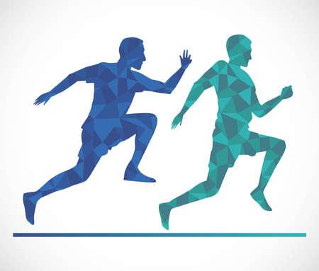 silhouette of athletic men running vector illustration design