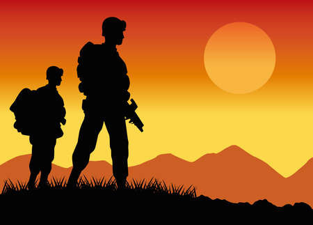 military soldiers silhouettes figures in the camp sunset scene vector illustration design