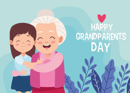 cute happy grandmother with granddaughter and lettering vector illustration design