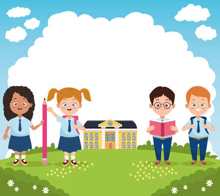 little students group with uniforms in the school characters vector illustration design Векторная Иллюстрация