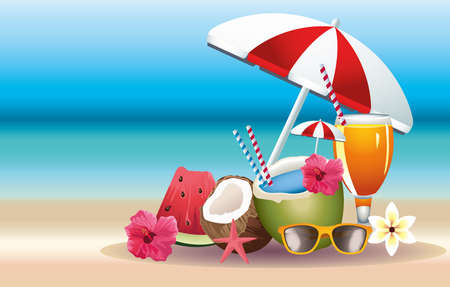 hello summer season holiday with cocktails and fruits vector illustration design
