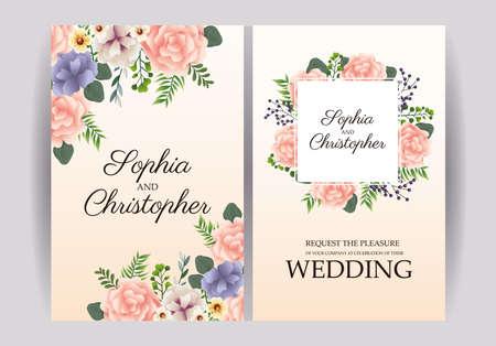 wedding Invitation with squares floral frames vector illustration design