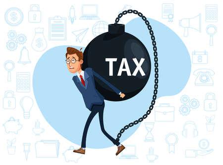 elegant businessman with tax shackle character vector illustration design 矢量图像