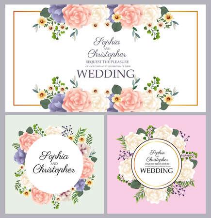 wedding Invitation with floral circulars frames vector illustration design