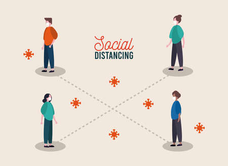 group of people wearing medical mask practicing social distance vector illustration design