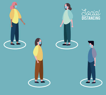 group of people wearing medical mask practicing social distance vector illustration design